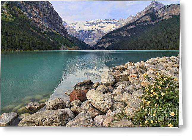 Canoe Greeting Cards - Lake Louise Wonder Greeting Card by Teresa Zieba