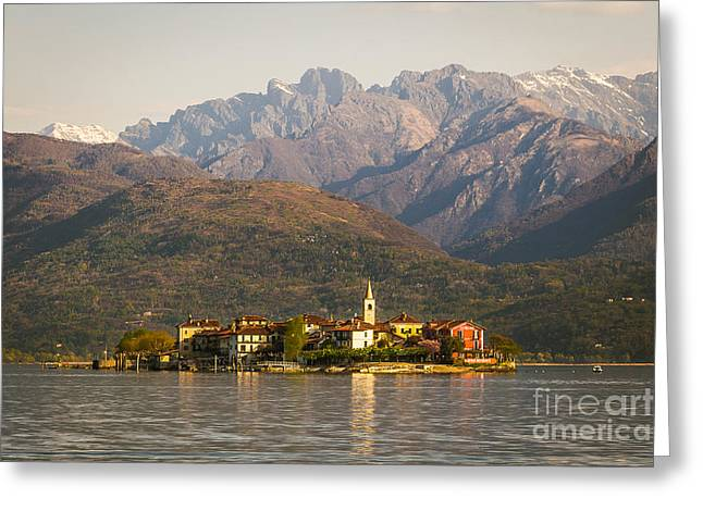 Photograph Tapestries - Textiles Greeting Cards - Lake Maggiore isola dei pescatori Greeting Card by Marco Arduino