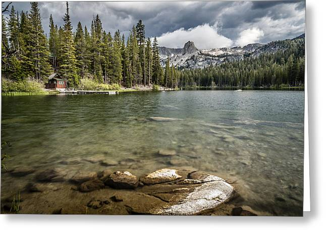 Mountain Cabin Greeting Cards - Lake Maime Greeting Card by Cat Connor