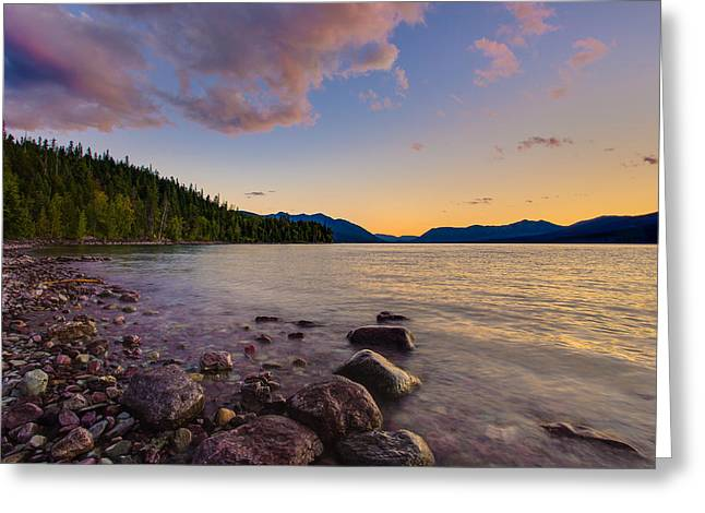 West Glacier Greeting Cards - Lake McDonald at Sunset Horizontal Greeting Card by Adam Mateo Fierro