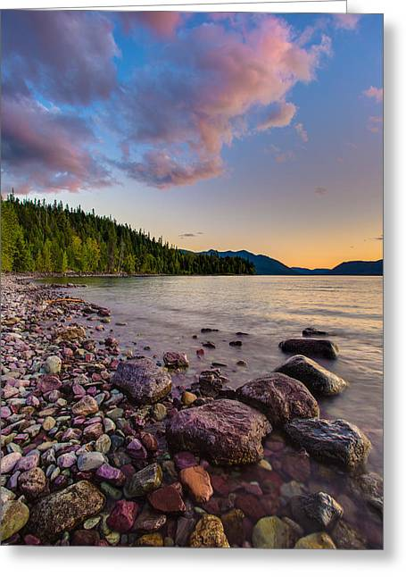 West Glacier Greeting Cards - Lake McDonald at Sunset Veritcal Greeting Card by Adam Mateo Fierro