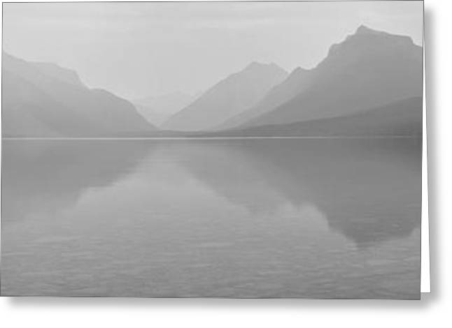 Apgar Greeting Cards - Lake McDonald Black And White Panorama Greeting Card by Adam Jewell