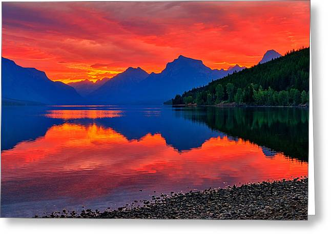 Lake Mcdonald Fiery Sunrise Greeting Card by Greg Norrell