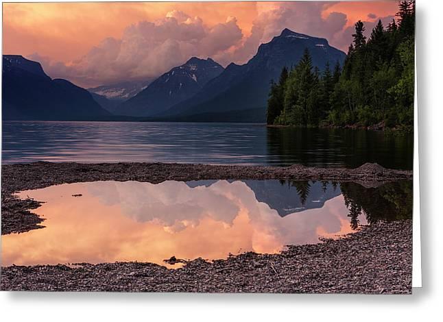 Lake Mcdonald Sunset Greeting Card by Mark Kiver