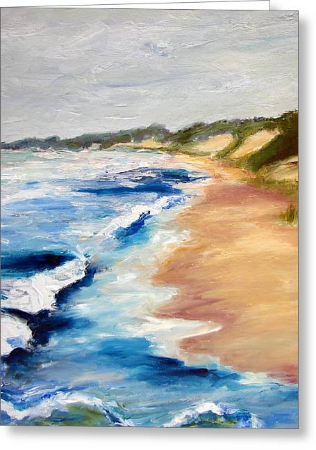 Lake Michigan Beach With Whitecaps Detail Greeting Card by Michelle Calkins
