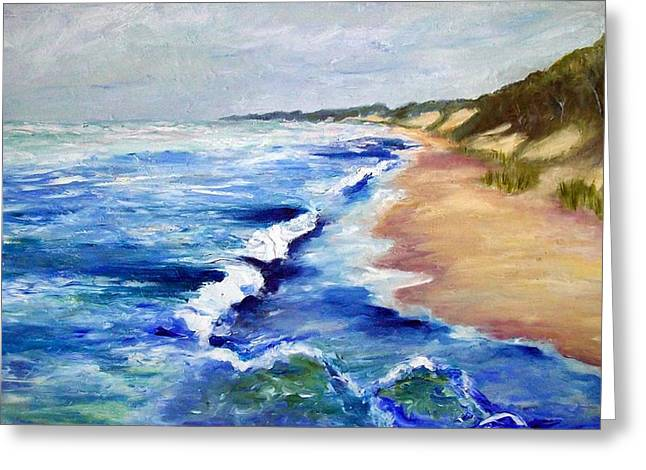 Sand Dunes Paintings Greeting Cards - Lake Michigan Beach with Whitecaps Greeting Card by Michelle Calkins