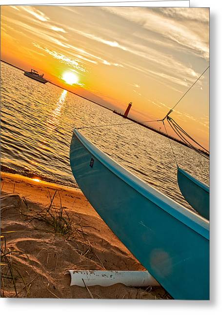Lake House Greeting Cards - Lake Michigan Calm Greeting Card by Emily Enz