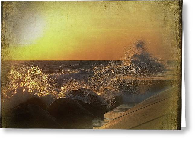 Lake Michigan Sunset Greeting Card by Maria Dryfhout