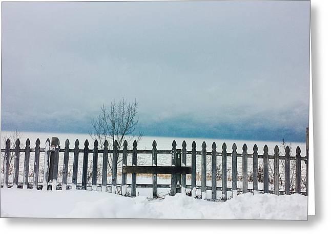 Winter Storm Greeting Cards - Lake Michigan Winter Greeting Card by Jennifer Kohler