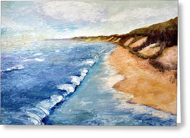 Sand Dunes Paintings Greeting Cards - Lake Michigan with Whitecaps ll Greeting Card by Michelle Calkins