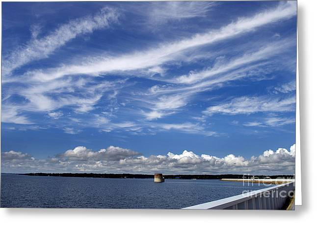 Beach Photography Greeting Cards - Lake Murray Dam Greeting Card by Skip Willits