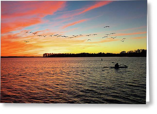Mike Covington Greeting Cards - Lake Murray Fisherman Greeting Card by Mike Covington