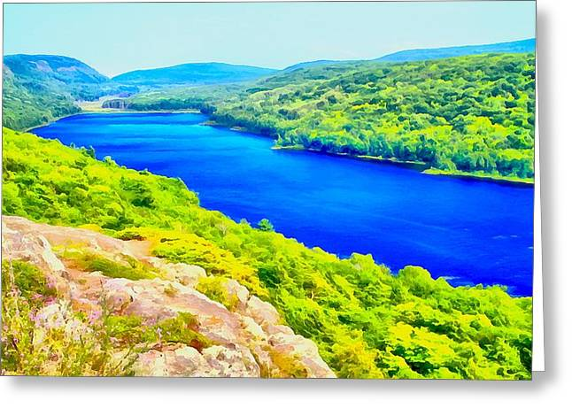 Blue Green Water Mixed Media Greeting Cards - Lake Of The Clouds Panorama Greeting Card by Dan Sproul