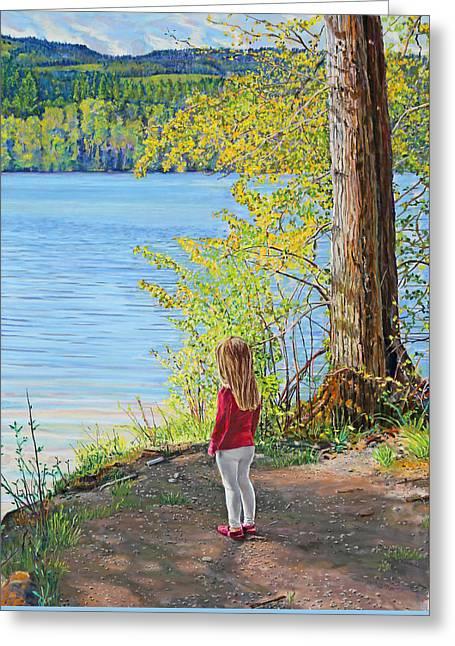 Birdseye Paintings Greeting Cards - Lake Padden- Memorial Bench of Jerry Pressler Greeting Card by Nick Payne