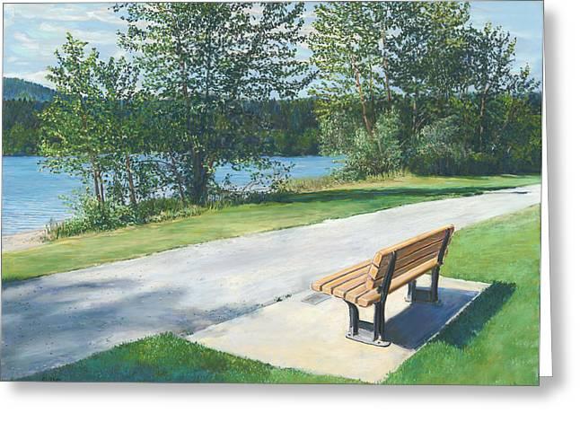 Birdseye Greeting Cards - Lake Padden Series - Memorial Bench of Andrew Phillip Jones Greeting Card by Nick Payne