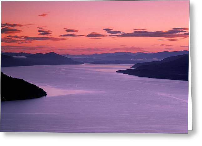 Lake Pend Oreille Greeting Cards - Lake Pend Oreille Sunset Greeting Card by Leland D Howard