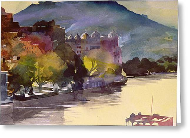Modern Art Greeting Cards - Lake Pichola Greeting Card by Simon Fletcher