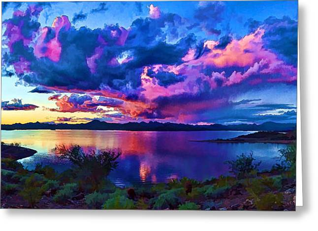 Desert Lake Digital Art Greeting Cards - Lake Pleasant Sunset 1 Greeting Card by Bill Caldwell -        ABeautifulSky Photography