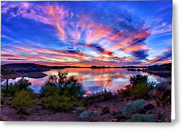 Desert Lake Greeting Cards - Lake Pleasant Sunset 4 Greeting Card by Bill Caldwell -        ABeautifulSky Photography