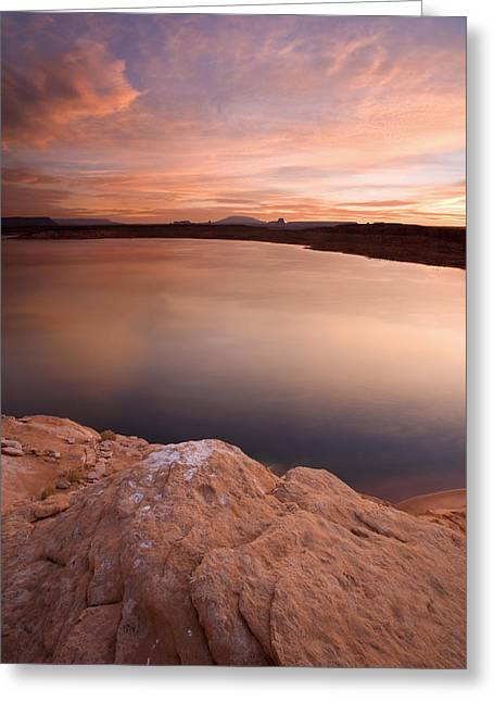 Desert Lake Greeting Cards - Lake Powell Dawn Greeting Card by Mike  Dawson