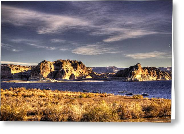 Satisfaction Greeting Cards - Lake Powell Harbor at Sunrise Greeting Card by Roger Passman