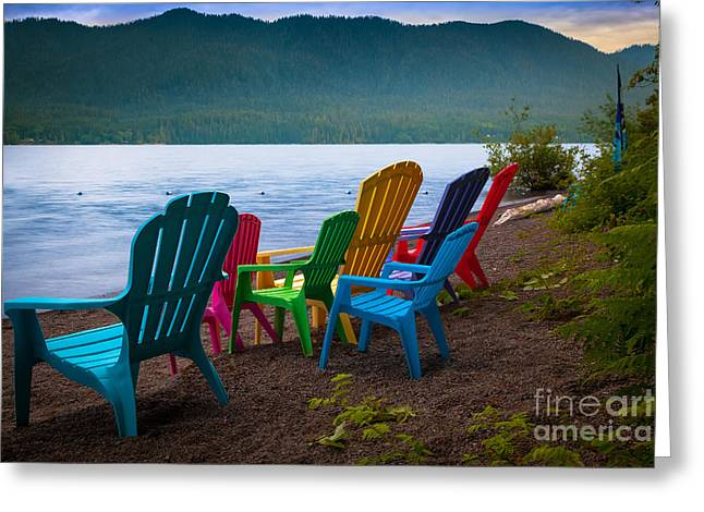 Lake Quinault Chairs Greeting Card by Inge Johnsson
