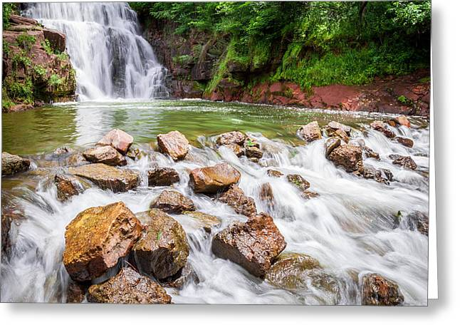Canoe Greeting Cards - Lake Redstone Falls Greeting Card by Michael Horst