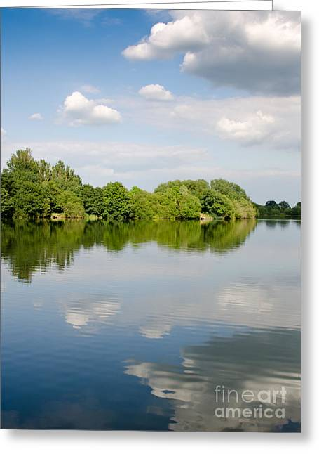 England Landscape Greeting Cards - LAKE REFLECTION dinton pastures lakes and nature reserve reading berkshire uk Greeting Card by Andy Smy