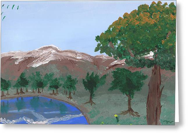 Acrylic Art Greeting Cards - Lake Reflection Greeting Card by Jose Valeriano