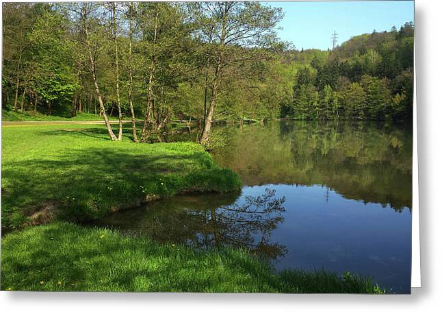 Lake Reflections Greeting Card by Jenny Rainbow
