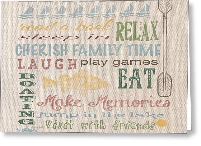 Flour Sack Greeting Cards - Lake Rules-JP2233 Greeting Card by Jean Plout