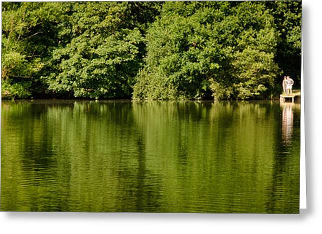 England Landscape Greeting Cards - LAKE SHORE dinton pastures lakes and nature reserve reading berkshire uk Greeting Card by Andy Smy