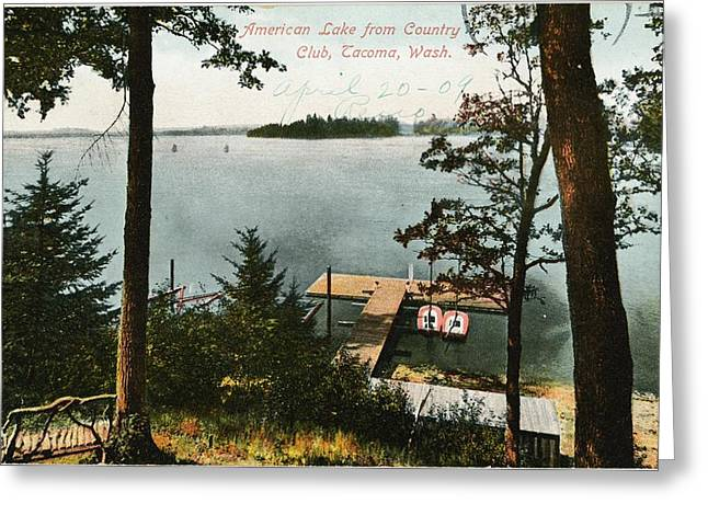 Boats In Water Greeting Cards - Lake Side Landscape With Trees And Boat Greeting Card by Gillham Studios