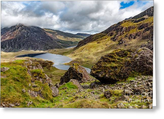 Lakes Digital Greeting Cards - Lake Snowdonia Greeting Card by Adrian Evans