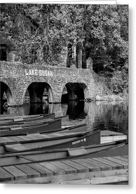 Canoe Photographs Greeting Cards - Lake Susan BW Greeting Card by Joye Ardyn Durham