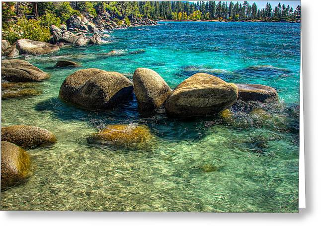 Lake Photography Greeting Cards - Lake Tahoe Beach and Granite Boulders Greeting Card by Scott McGuire