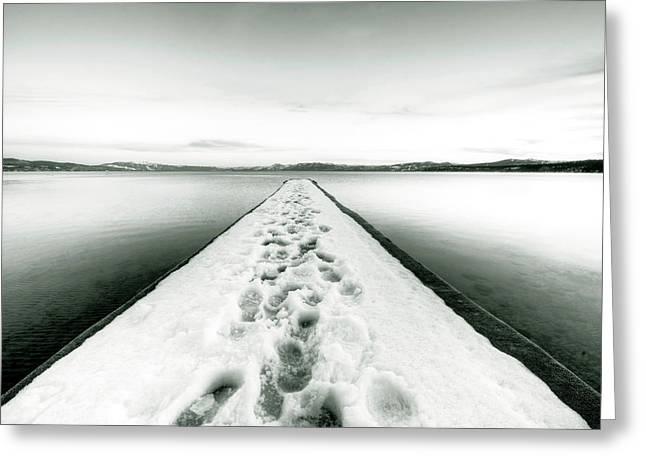 Footprints Photographs Greeting Cards - Lake Tahoe Footprints in the Snow  Greeting Card by Dustin K Ryan