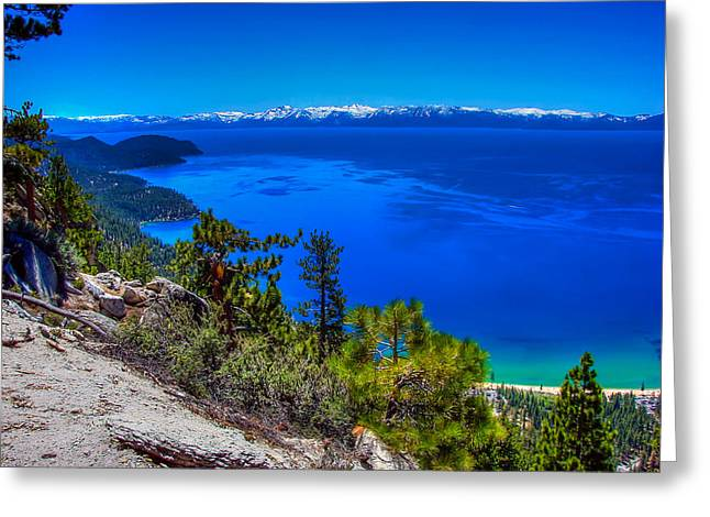 Incline Photographs Greeting Cards - Lake Tahoe from Flume Trail over Sand Harbor State Park Greeting Card by Scott McGuire