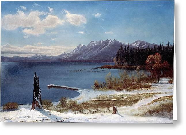 Californian Greeting Cards - Lake  Tahoe  in  winter Greeting Card by Albert  Bierstadt