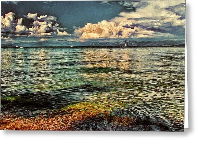 Blue Green Wave Greeting Cards - Lake Tahoe Greeting Card by John K Woodruff