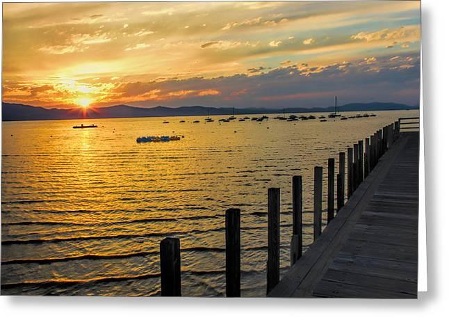 Docked Sailboats Greeting Cards - Lake Tahoe Sunset Greeting Card by Pat Cook