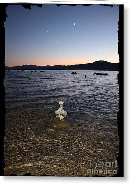 Calm Waters Digital Greeting Cards - Lake Tahoe Sunset with Rocks and Black Framing Greeting Card by Carol Groenen