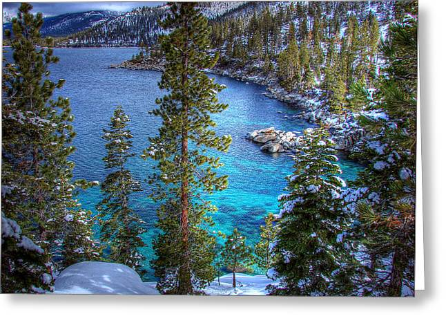 Winterscape Greeting Cards - Lake Tahoe Winterscape Greeting Card by Scott McGuire