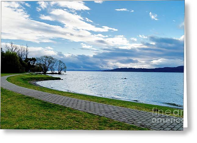 Sardinelly Greeting Cards - Lake Taupo Greeting Card by Yurix Sardinelly