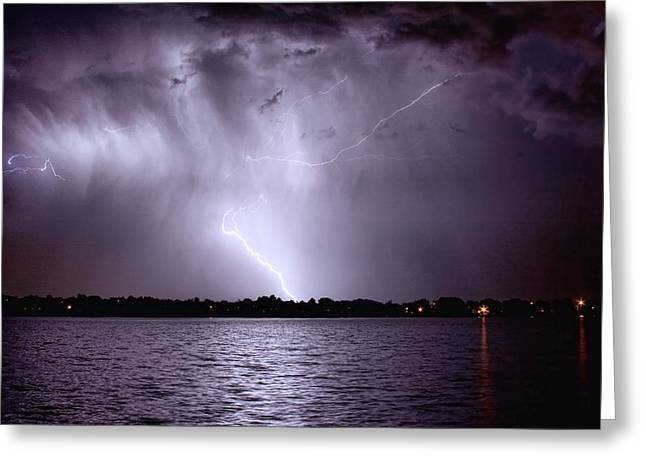 Photography Lightning Photographs Greeting Cards - Lake Thunderstorm Greeting Card by James BO  Insogna