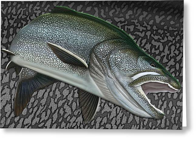 Trout Fishing Drawings Greeting Cards - Lake Trout - Sharks of the Arctic Greeting Card by Nick Laferriere