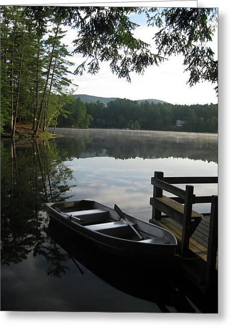 Boats At Dock Digital Greeting Cards - Lake Vanare Greeting Card by Lali Partsvania