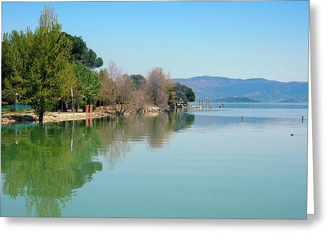 Francis Greeting Cards - Lago Trasimeno Island View Greeting Card by Dorothy Berry-Lound