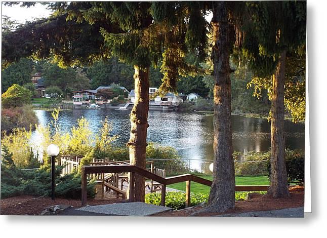 Beverly Lake View In Fall Greeting Card by Judyann Matthews