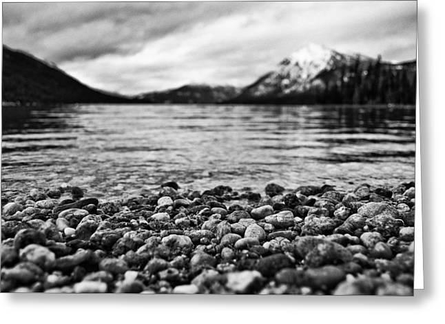 Lake Wenatchee Rocks Black And White Greeting Card by Pelo Blanco Photo